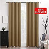 100% Blackout Curtains Thermal Insulated Solid Grommet Long Curtains/Drapes/Shades for Bedroom Living Room 2 Panels Khaki 52x108 Inch