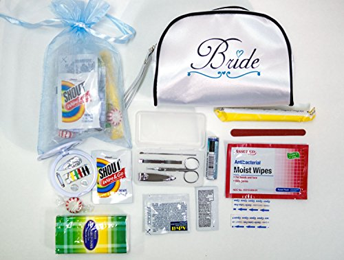 Party Survival Kit - Yacanna Wedding Survival Kit Bridal Emergency Kit in White Satin Bride Travel Bag -Gifts for Bride