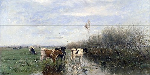 Cows in a meadow by Willem Maris Tile Mural Kitchen Bathroom Wall Backsplash Behind Stove Range Sink Splashback 6x3 4.25'' Ceramic, Glossy by FlekmanArt