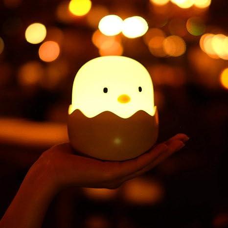 Tanouve Luz Nocturna Bebé Lámpara, 1200mAh Silicona Lámpara de Polluelo con Brillo Ajustable/Control Tátil/Regargable para Niños y Bebés