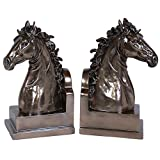 K91160 Horse Book Ends Bronze Color Set of 2 - 9 Inch High