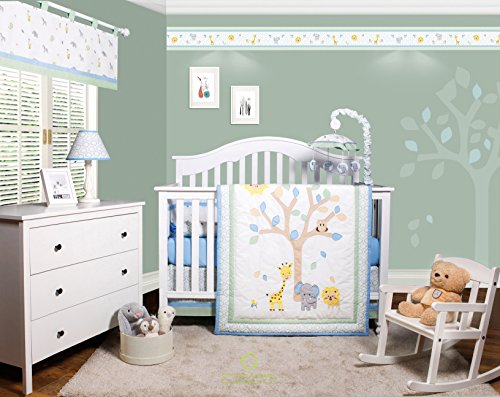 GEENNY OptimaBaby Safari Jungle Animals 6 Piece Baby Nursery Crib Bedding Set (Bedding Set For Baby Boy Crib)