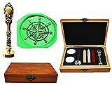 MNYR Compass Luxury Wood Box Bronze Metal Peacock