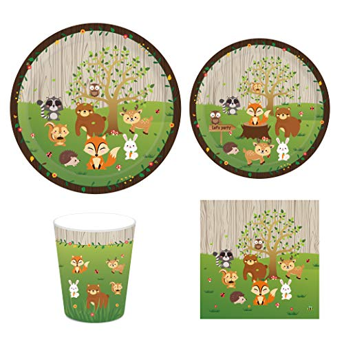 CC HOME Woodland Creature Animal Party Supplies Pack-- Serves 16 - Includes Paper Plates, Napkins, and Cups ,Camping Party Supplies,Forest Animal Friends Tableware ,Bundle ,Party Favor for Woodland Baby Shower ,Birthday Party ,Wedding ,Bridal Shower Decorations ()