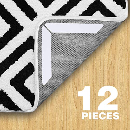 12 Pack Rug Grippers, White Anti Curling Rug Gripper, Anti Slip Straight Carpet Gripper for Corners and Edges - Anti Slip Rug Pad for Rugs - Ideal Rug Stopper for Kitchen Bathroom