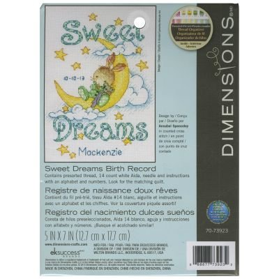 Sweet Dreams Birth Record Counted Cross Stitch Kit SO12