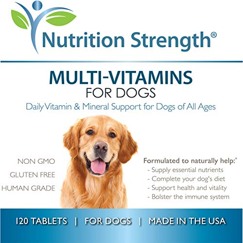 Nutrition Strength Organic Multivitamins for Dogs, Daily Vitamin and Mineral Support, Nutritional Dog Supplements for All Canine Breeds and Sizes, Promotes Immune Health in Pets, 120 Chewable Tablets