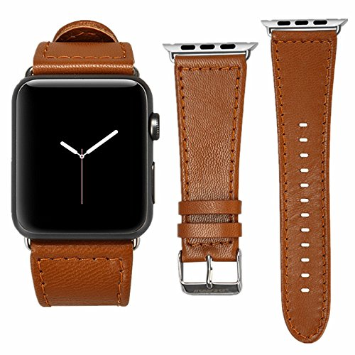 Watch Band Genuine Lambskin Leather iWatch Replacement Watchbands with Classic Buckle for Apple Watch Sport Edition, Brown (For 42MM Version) TC-AW4-18L20 ()