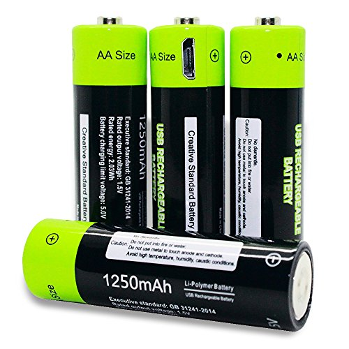 USB Rechargeable Batteries AA Cell Battery Pack 1250mAh