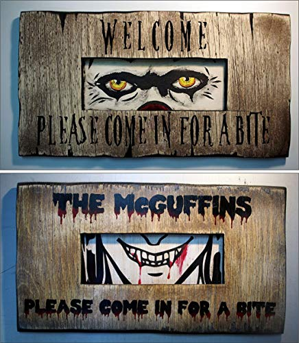 - Halloween Decorations Personalized Door Sign   Handmade, wooden rustic decor sign inspired by vintage, door viewer slits   Your favorite monster's eyes with your customized message, hand painted decor