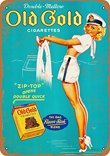 Wall-Color 7 x 10 Metal Sign - Old Gold Cigarettes Pin-Up - Vintage Look