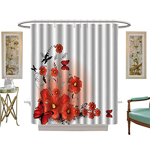 Philip C Williams Shower Curtains Digital Printing Floral Flash Background With Butterflies Spring Seas Hope