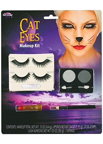 [Cat Eye Makeup with Lashes Costume Set] (Cat Costume Eye Makeup)