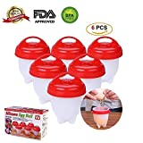 Egg Cooker (6 Pack) Hard Boiled, Fried, Scrambled, Benedict, Microwave Safe Non-Stick Silicone,Reusable, Automatic Cooking & Baking Accessories, 1 Gift Free Egg White Separator (Red)