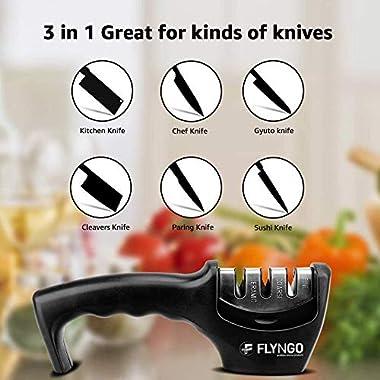 FLYNGO Manual Knife Sharpener 3 Stage Sharpening Tool for Ceramic Knife and Steel Knives 12