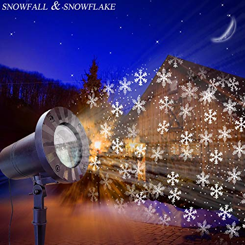 Christmas Projection Lamp, LED Sparkling Landscape Lighting Moving Snowflake & Snowfall High-intensity Spotlight Outdoor Waterproof Snowflake Lights for House Decorate Party Christmas and Wedding