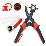 Xmifer Professional Holes Punch Pliers for Leather Belt Gasket Paper Head Revolves Heavy Duty Strengthened Punch Pliers