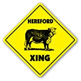 HEREFORD CROSSING Sign xing gift novelty cow cattle steet farm milk dairy