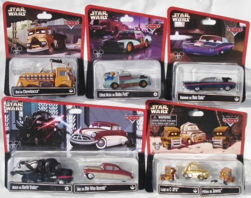 Disney Cars 1:55 Scale Diecast Star Wars Series 2, complete set of 8 cars (5 packages including two multi-pack) Mater as Darth Vader, Doc as Obi-Wan Kenobi, Luigi as C-3PO and 2 Pitties as Jawas, Ramone as Han Solo, Chick Hicks as Boba Fett, Red as Chewbacca (Chick Hicks Boba Fett)