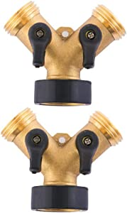 HQMPC Garden Hose Splitter Brass Hose Y-Connector Two way valve with Shut-Off Valves Hose splitter 2 Way (2)