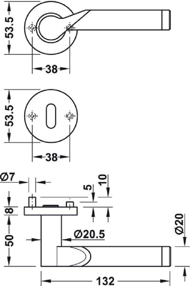 Moderne Dr/ückergarnitur f/ür Zimmert/üren T/ür-Griff Set Edelstahl T/ürklinke auf Rund-Rosette Baubeschl/äge von JUVA/® Modell LDH 2195 WC-Badezimmer Edelstahl Bicolor