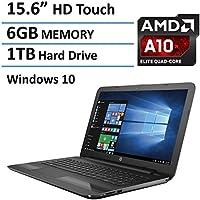 HP 15-inch High Performance Premium Touchscreen Laptop (2016 New Flagship Edition), AMD A10-9600P Quad-Core Processor 3.3GHz, 6GB RAM, 1TB HDD, HDMI, DVD+RW DL, Webcam, Windows 10 64bit, Black