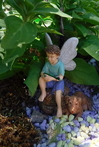 Gone Fishin Miniature Fairy Garden Boy Fishing W Dog Figurine
