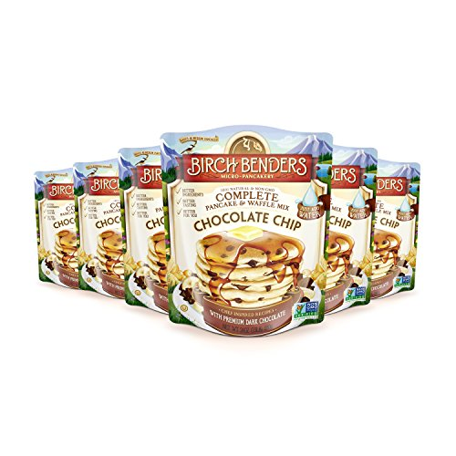 All Natural Chocolate Chip Pancake and Waffle Mix by Birch Benders, Made with Premium Dark Chocolate, 100% Natural and Non-GMO Verified Ingredients, Family Size 144 Ounce (24oz 6-pack)