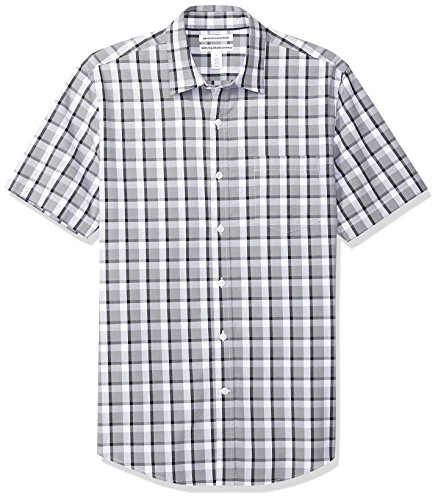 Amazon Essentials Men's Slim-Fit Short-Sleeve Casual Poplin Shirt, Grey/Black Plaid, Large