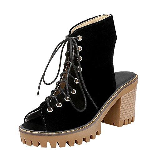 Carolbar Kvinners Blonder-up Peep-toe Retro Plattformspill Høy Hæl Sommer Boots Black