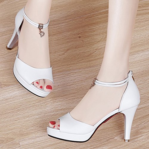 Hebillas con con de de white Jqdyl de Nuevas Boca Finas Zapatos Pescado Sandalias Zapatos Mujer de Femeninas de de Verano Zapatos Trabajo Alto Tacones Tacón x0xpqHwR