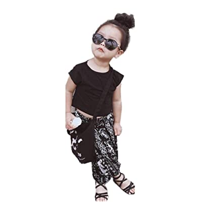 0-5 Years Old Unisex Baby,Yamally_9R Infant Unisex Kids Solid Short T-Shirt Tops+Elephant Long Pants,2 Pieces Set