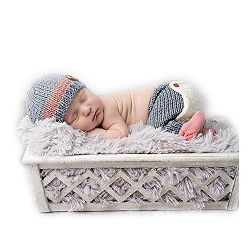 Fashion Cute Newborn Boy Girl Baby Costume Outfits Photography Props Hat Pants (Cute Baby Costume)