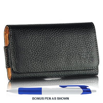 Classic Pebble Texture Leather Design Horizontal Belt Clip Magnetic Closing Flap Holster Pouch Case for Samsung Galaxy Note 3 / III N9000 (New LTE Android Smart Phone for All Carrier) + A Bonus Long Arch Blue White Ball Point Pen