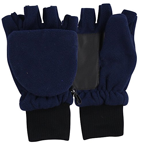 Fleece Fingerless Gloves Convertible Mittens Navy