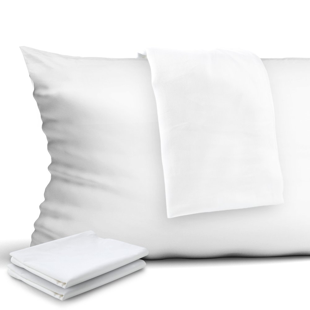 CAROMIO 4-Pack Zippered Pillow Protectors, Premium 400 Thread Count 100% Egyptian Cotton White Zippered Pillowcases Pillow Covers, Standard by CAROMIO