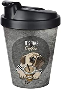 Double wall design Thermal Travel Mug Tumbler, Reusable Coffee Cup with Lid, Lightweight Portable Travel mug, To Go Hot & Cold Beverage Tumbler (14oz) (Time for Coffee)