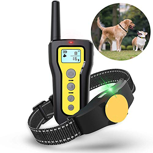 EJEAS Dog Training Collar Waterproof 1000ft Remote Shock Trainer Collar Rechargeable Electric Beep Vibration Collar Polyester Adjustable with Buckle Closure for Small Medium Large Dogs 10-120 Lbs