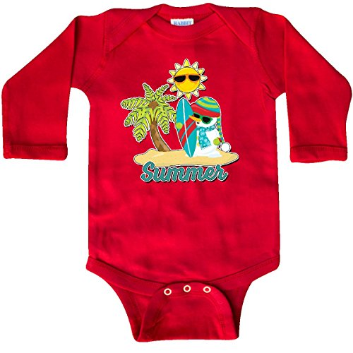 inktastic Summer Surfing Snowman with Palm Long Sleeve Creeper 12 Months Red (Snowman Surfing)