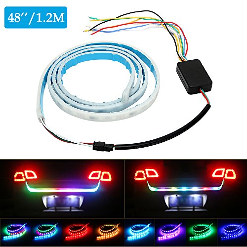 Led Tail Lights Strip Tailgate Light Strip Bar Car Truck Pickup Turn Signal Led Strip Lights RGB 12V Multicolor Modification Flowing Waterproof 48'' 1pc【1797】 - 48' Cabinet