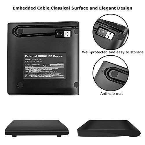 USB 3.0 External DVD Drive,Paragala Ultra Slim External CD Drive Portable CD DVD Player Burner Reader Writer with Built-in Cable,Excellent Optical Drive for Laptop Notebook Macbook and Desktop (Black) by Paragala (Image #2)