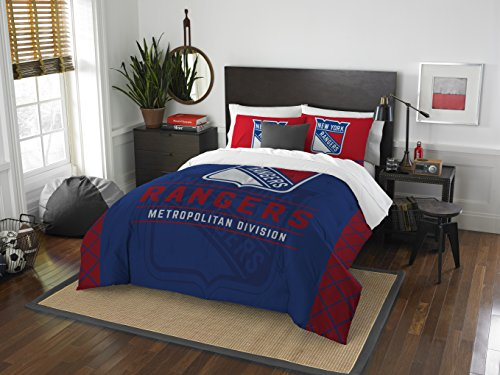 The Northwest Company Officially Licensed NHL New York Rangers Draft Full/Queen Comforter and 2 Sham Set, Blue/Red ()