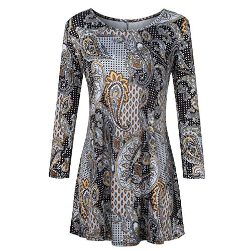 Beaded Print Blouse - Wintialy Fashion Womens Casual Floral Print Shirts 3/4 Sleeves O-Neck Tunic Blouse Tops Brown