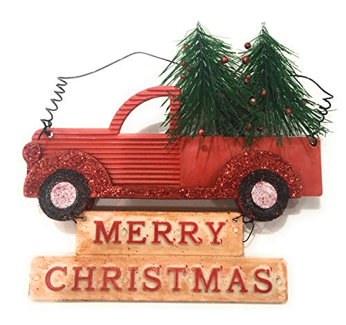 (Winter Wonder Lane Red Retro Truck Christmas Ornament with Christmas Tree - About 6 inches Long - Set of 3 Ornaments)