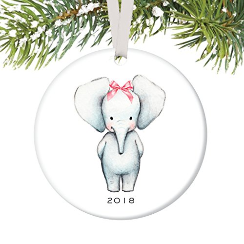 Baby Ornament 2018, Girl Baby Elephant Porcelain Ceramic Ornament, 3