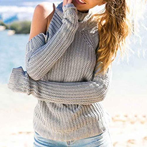Pullover Pullover Manica Invernali Moda Slim Maglia Grazioso Grazioso Alto Elegante Maglieria Pullover Autunno Pullover Jumper Tops Donna Lunga Spalline Confortevole Grau Collo Senza Fit A 0q4Ipx