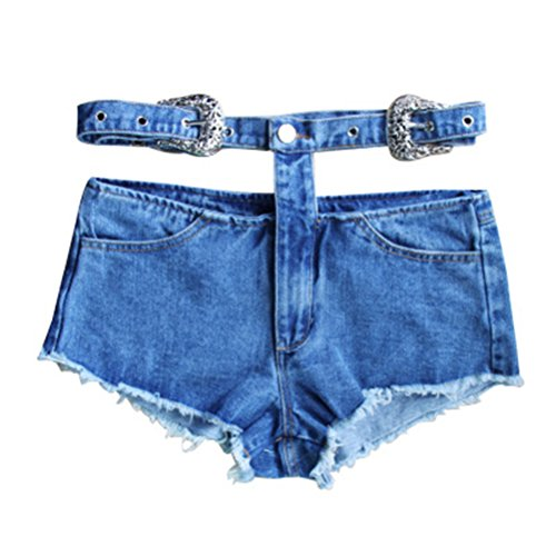 FuweiEncore Femme Shorts Dechir Vintage Jeans Court Taille Haute Sexy Chic Bleu