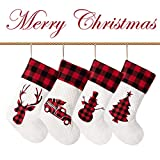LUBOTS 2020 New Set of 4 Christmas Stocking(20inch) Silhouette Buffalo Red Plaid/Rustic/Farmhouse/Country Fireplace Hanging Handmade Xmas Stockings Decorations for Family Holiday Season Decor