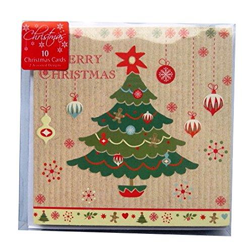 Cartoline di Natale con buste–Tree & Gingerbread–Confezione di 10–125mm x 125mm RSW