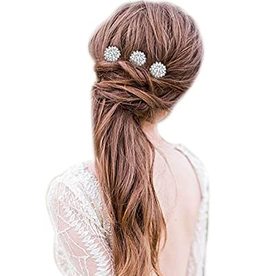 BriLove Women's Bohemian Flower Cluster Crystal Bridal Wedding 3 Hair Comb Pin Set